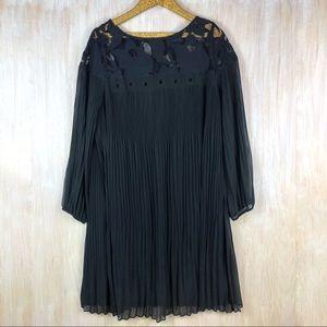 Lane Bryant Black Accordion Pleated Ruffle Dress